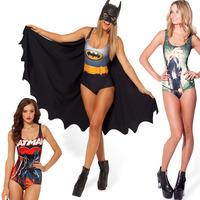NEW Women Beachwear 2014 Summer Print One Piece Swim Suits Cheap Sexy Bathing Suits Spandex Jumpsuit Galaxy Batman Swimwear