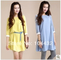 2014 New design Maternity Dresses Solid Sleeve Chiffon Dress Loose Send belt