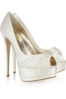 Fashion Peep Toe Pumps Shoes Woman Fashion Open Toe Retro High Heel Shoes White For Wedding