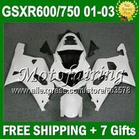 7gifts+Cowl For SUZUKI Gloss white K1 01 02 03 GSXR750 GSXR600  CL2A37 GSXR 600 750 ALL White GSX R600 2001 2002 2003 Fairing
