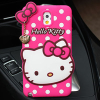 For Samsung Galaxy Note 3 N9000 Top Quality Cartoon Sweet Hello Kitty Silicone Case Phone Cover