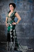 New Hot Green Arabic Kaftan Evening Dresses With Long Sleeves And Applique Lace Satin Abaya Dubai Chiffon Evening Gowns BO3195