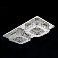 LED Crystal Flush Mount, 2 Light, Modern Transparent Electroplating Stainless Steel