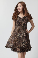 Free shipping chiffon leopard dress plus size women brand new 2014 summer short sleeve knee-length career ladies XL XXL XXXL 4XL