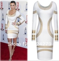 cheap plus size women dresses new fashion 2014 european vintage sexy ol long sleeve geometric patterns knee-length pencil dress