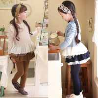 2014 New Spring Girls Cotton Clothing Sets  Puff Sleeve Princess T-shirts & Lacework Pantskirts (Can only buy  leggings) 625111