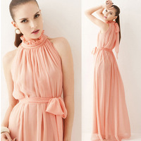 New 2014 Summer Stand Collar Sashes Maxi Dress Women Chiffon Black Vintage Long Dress Casual Sleeveless Ankle Length Dresses