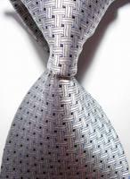New Gray Crossed JACQUARD WOVEN Men's Tie Necktie  46