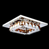 LED Crystal Flush Mount Light, Modern Amber Electroplating Stainless Steel
