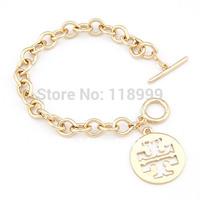 Fashion 18K Gold Alloy Chunky Chain Round Pendant Charm Bracelets Wholesale Free Shipping