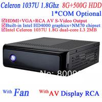 small desktop computers office machine with rca video AV S-VIDEO output Intel Celeron C1037U 1.8Ghz NM70 chipset 8G RAM 500G HDD