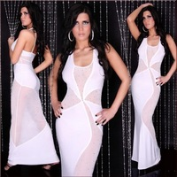 2014 New Women Charming European Charming Round Collar Sleeveless Party Slim Elastic Rhinestone Gauze Splicing Maxi Dress White