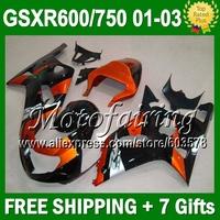 7gifts+CowlFor GSX R600 SUZUKI K1 GSXR750 Orange black 01 02 03 CL2A67  GSXR600 GSXR 600 750 2001 2002 2003 Orange BLK Fairings