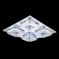 LED Crystal Flush Mount, 4 Light, Modern Transparent Electroplating Stainless Steel