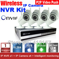 Security CCTV 4CH 960P P2P Network HDMI NVR 1.0M Wireless HD IP WIFI IR Outdoor Camera Kit Video Push Video Surveillance System