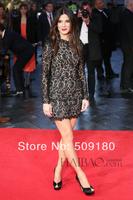 elegant high quality boat neck above knee length custom made celebrity dress design JO077 black lace long sleeve evening dress