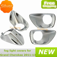New A pair Bezels Trim Cover For Jeep Grand Cherokee Fog light Bezel Covers Chrome Trims ABS free shipping