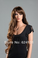 Quick delivery,High quality,100% KANEKALON,Fluffy Long wavy Brown Lady Full Wig ,Best selling
