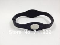 2014 New 1Pcs/lot Black Silicone Bracelet with Hologram Bracelets PB  Bands Energy Wristband Bracelets