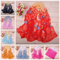 2014 Newest Fashion Women's Cotton 7 Color Butterfly  Scarf Shawl Flower Print Hot Selling Free Shipping