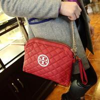 2014 Girl Fashon bag Branded Designer Messenger bag Plaid shoulder bag Metal Chain strip Double zipper