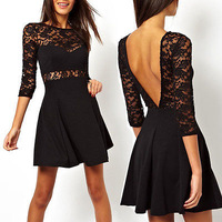 Casual Fashion Women Sexy Lace See-through Backless V-Neck 3/4 Sleeve Bodycon Mini Party Dress Wholesale New 2014 Hot