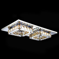 Ceiling lights LED Crystal Flush Mount, 2 Light, Modern Amber Electroplating Stainless Steel