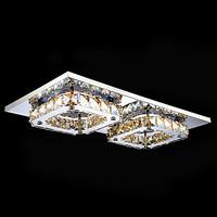 LED Crystal Flush Mount, 2 Light, Modern Amber Electroplating Stainless Steel