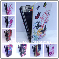 For Iphone 4 4G 4S New butterfly flowers design Magnetic Holster Flip Leather Hard Case Cover Protect  Free Shipping B260