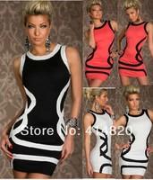Free Shipping Sexy White/Black Black/White Salmon Red /Black Trims tank Dress Ball Party Disco Wear Bodycon Clubwear women dress