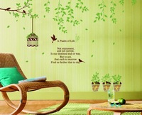 Free Shipping 2013 New design Vinyl Wall Stickers Cartoon bird green Home decoration Wall decals for Kids Nursery Living Rooms
