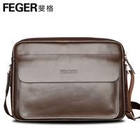 Feger brand man bag one shoulder messenger bag 2014 male business casual genuine leather cowhide bag