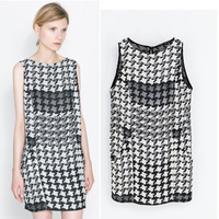 2014 fashion houndstooth plaid print pocket female sleeveless one-piece dress loose short length dress