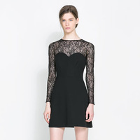 new 2014 spring one-piece dress female long-sleeve lace patchwork sexy back slipper zipper short skirt slim ladies dress