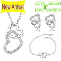 2014 women brand wedding Free Shipping austrian Crystal rhinestones Heart necklace bracelet earrings fashion Jewelry Sets 80017