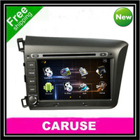 Free shipping Android tough screen for HONDA Civic 2012 dvd car gps 3D UI BT PIP IPOD free wifi and 4GB gps map card as a gift!