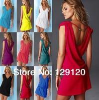 2014 new arrival Fashion  bikini beach dress elegant V-neck sleeveless vest one-piece dress sun shirt