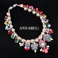 2014 New Fashion Luxury Brand Pearls Multicolor Gem Necklaces & Pendants Shourouk Choker Necklace Vintage Statement Jewelry