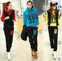 Free Shipping!Sports casual set 32 thickening vest sweatshirt  plus size Sport suit  Three piece Suit