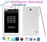 2014 New!! 9inch  2G GSM call Phone tablet pc dual SIM card MTK 6572A 512MB  Bluetooth +Dual camera +2Pcs batteries Free ship
