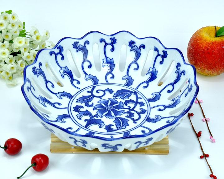 Cerâmica Artesanato porcelana azul e branca da fruta lanche bandeja de frutas placa de acessórios de mesa(China (Mainland))