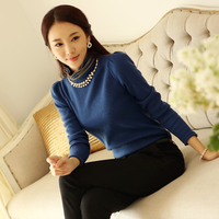 New 2014 free shipping spring autumn women knitting base Blouse shirt pure color Lady Nail bead OL leisure 3 color S~XXL