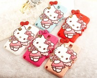 2014 new angel Hello Kitty with flowers soft 3d cute Cartoon silicon Case for samsung galaxy note 3 n9000 case Free shipping
