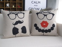 H203  New Funny Glass Mustache Red Lip Love Couple Linen Decorative Cushion Cover Sofa Coach Cushion Pillow Case Wedding Gift