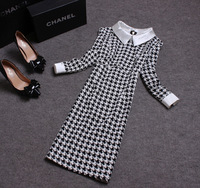2014 Spring And Summer New Arrival Fashion Women Vintage Elegant Peter Pan Collar Black And White Plaid Star Pencil Slim Dress