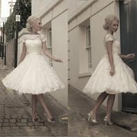 2014 New Vintage Short Sleeves knee Length Bateau Neck Sheer Wedding Dresses Lace Bridal Dresses Gown