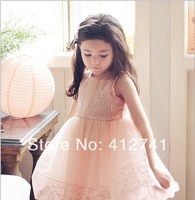 2014 New Summer Vest Girl Princess Lace Sleeveless Embroider Dress Children Clothing Tank Top Dress