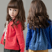 2014 Autumn Korean version of the new long-sleeved cardigan mashup Girls Polka Dot cardigan jacket splicing