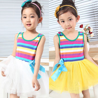 2014 female child skirt one-piece dress summer tulle dress dance dress rainbow skirt