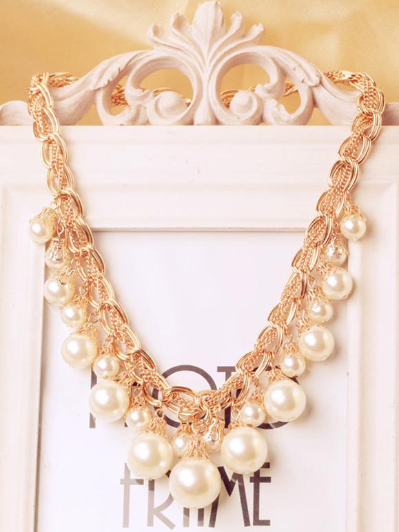 Beautiful elegant noble elegant fashion modern design short beaded necklace female accessories(China (Mainland))